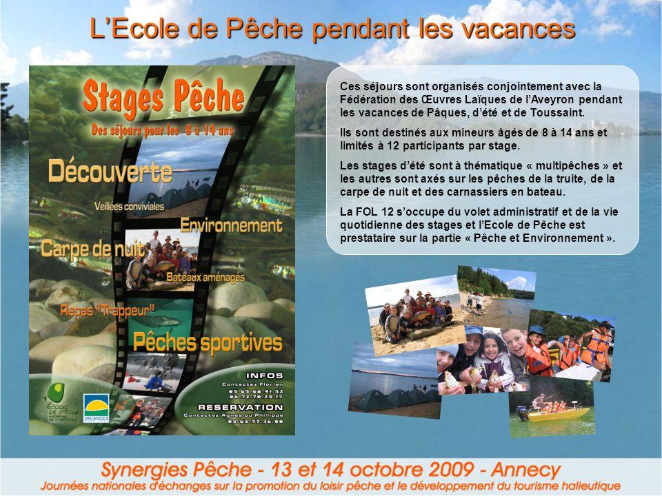 LEcole de Pêche pendant les vacances Ces séjours sont organisés conjointement avec la Fédération des Œuvres Laïques de lAveyron pendant les vacances d
