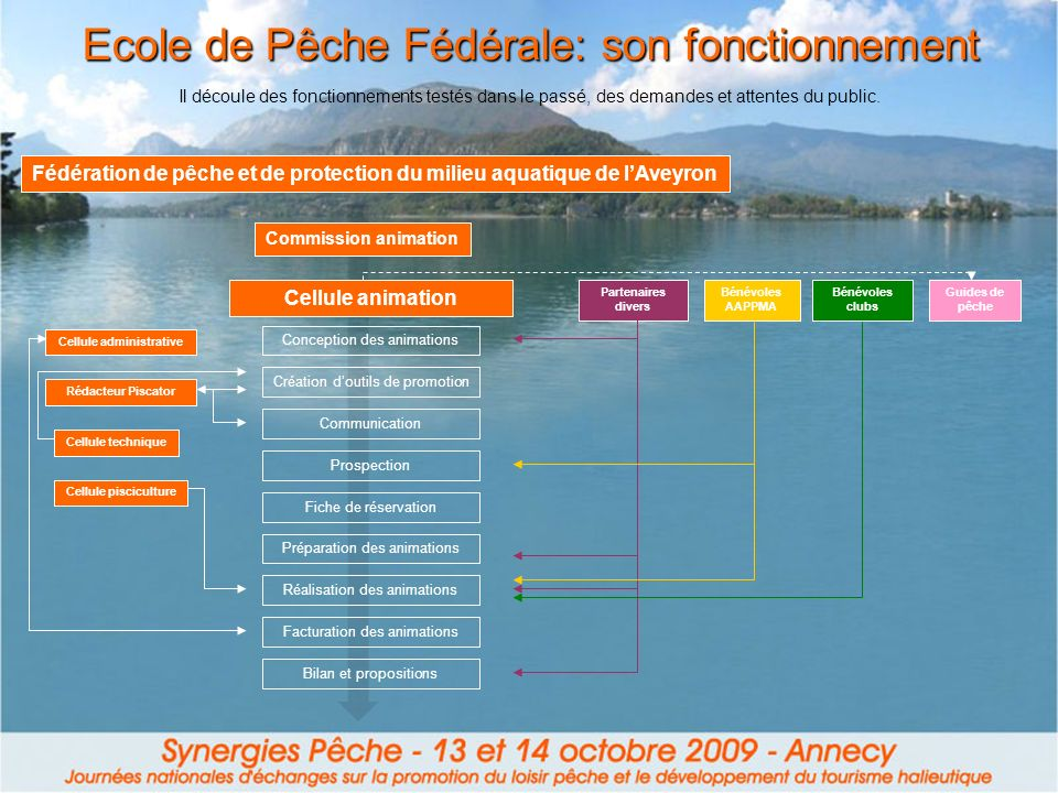 Bilan et propositions Ecole de Pêche Fédérale: son fonctionnement Il découle des fonctionnements testés dans le passé, des demandes et attentes du pub
