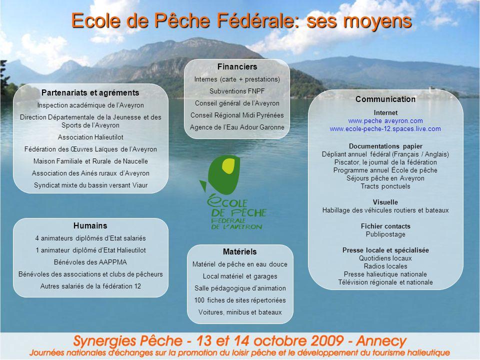 Ecole de Pêche Fédérale: ses moyens Partenariats et agréments Inspection académique de lAveyron Direction Départementale de la Jeunesse et des Sports