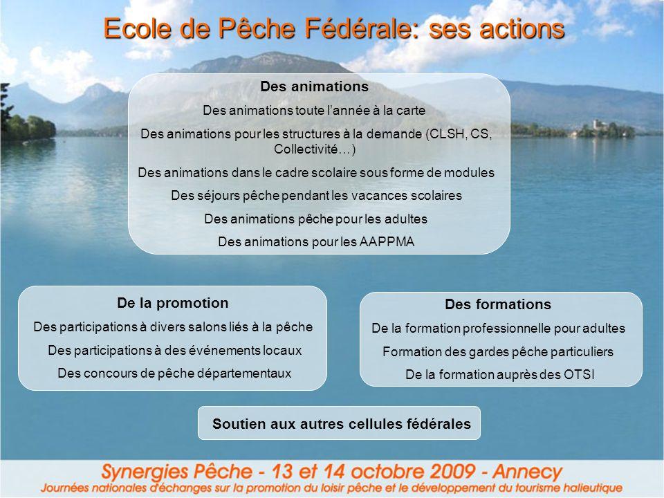 Ecole de Pêche Fédérale: ses actions Des animations Des animations toute lannée à la carte Des animations pour les structures à la demande (CLSH, CS,