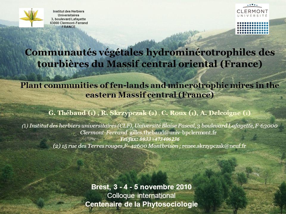 Communautés végétales hydrominérotrophiles des tourbières du Massif central oriental (France) Plant communities of fen-lands and minerotrophic mires i