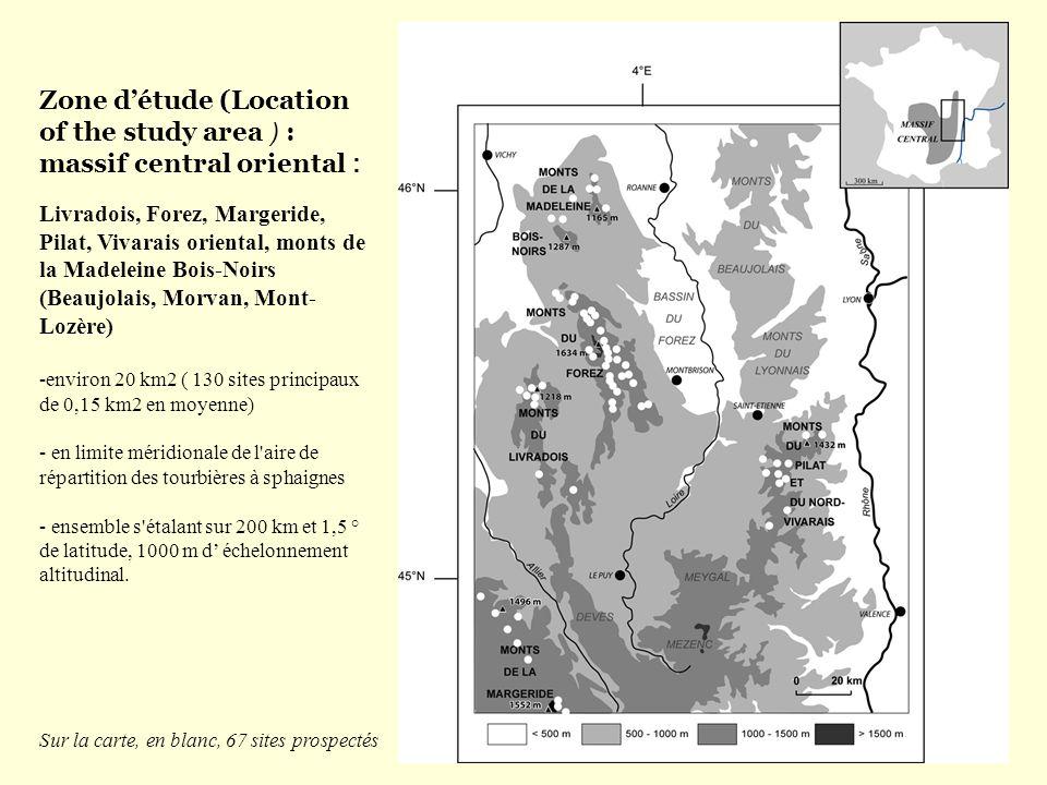 Zone détude (Location of the study area ) : massif central oriental : Livradois, Forez, Margeride, Pilat, Vivarais oriental, monts de la Madeleine Boi
