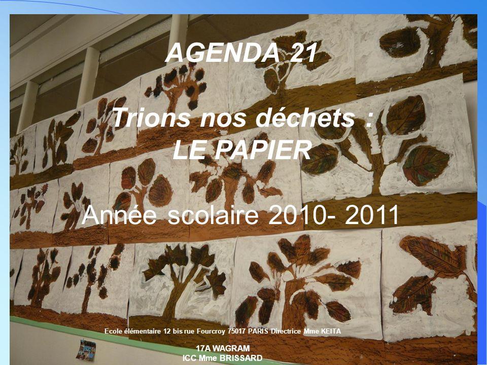 réalisé par Marie-Christine HASSINE AGENDA 21 Trions nos déchets : LE PAPIER Année scolaire 2010- 2011 Ecole élémentaire 12 bis rue Fourcroy 75017 PAR