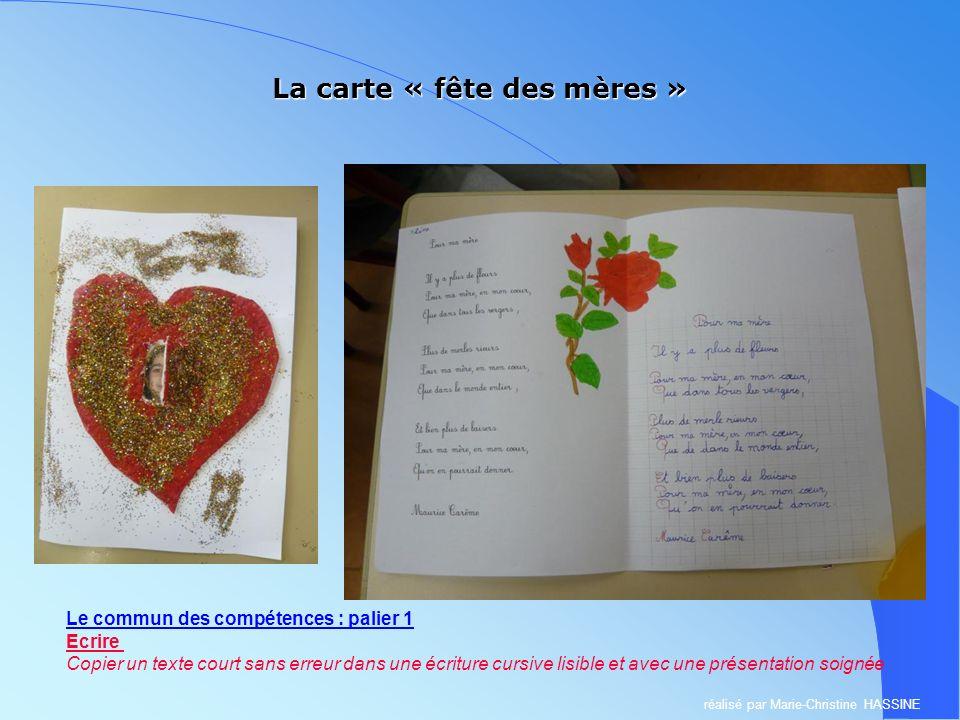 La carte « fête des mères » Le commun des compétences : palier 1 Ecrire Copier un texte court sans erreur dans une écriture cursive lisible et avec un