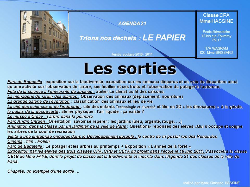 Les sorties Ecole élémentaire 12 bis rue Fourcroy 75017 PARIS AGENDA 21 Trions nos déchets : LE PAPIER Année scolaire 2010- 2011 Classe CPA Mme HASSIN