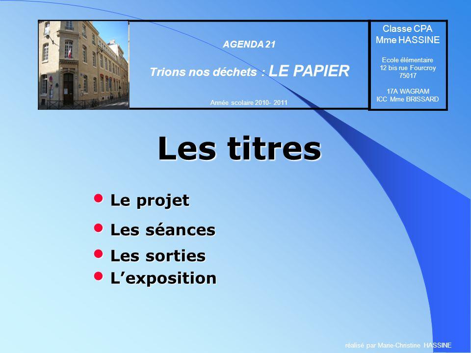 Les titres Ecole élémentaire 12 bis rue Fourcroy 75017 PARIS AGENDA 21 Trions nos déchets : LE PAPIER Année scolaire 2010- 2011 Classe CPA Mme HASSINE