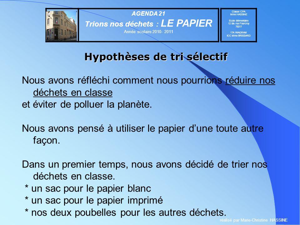 Hypothèses de tri sélectif Nous avons réfléchi comment nous pourrions réduire nos déchets en classe et éviter de polluer la planète. Nous avons pensé