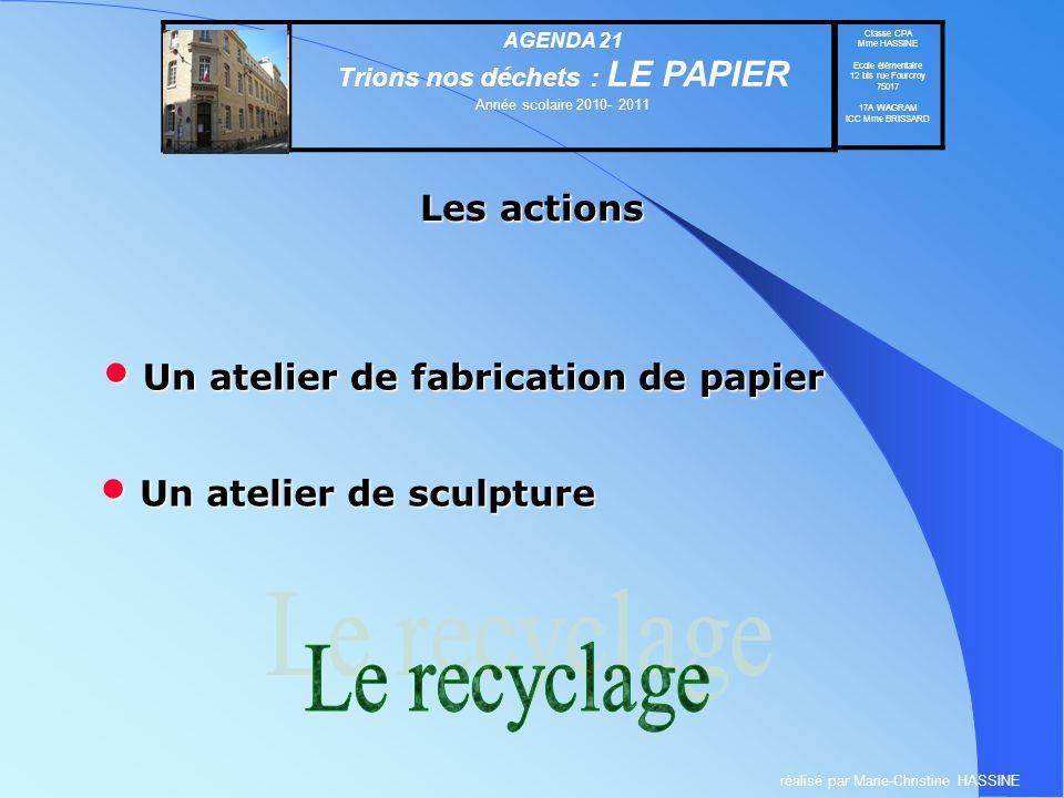 Un atelier de fabrication de papier Un atelier de fabrication de papier AGENDA 21 Trions nos déchets : LE PAPIER Année scolaire 2010- 2011 Classe CPA
