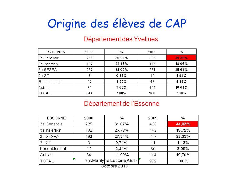 Marilyne Lutic - DAET- Octobre 2010 Origine des élèves de CAP Département des Hauts-de-Seine Département du Val dOise