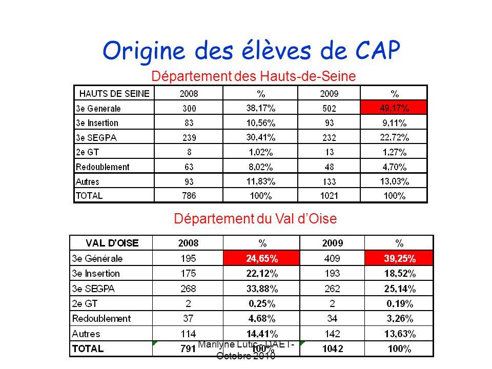 Marilyne Lutic - DAET- Octobre 2010 Origine des élèves de CAP Académie de Versailles