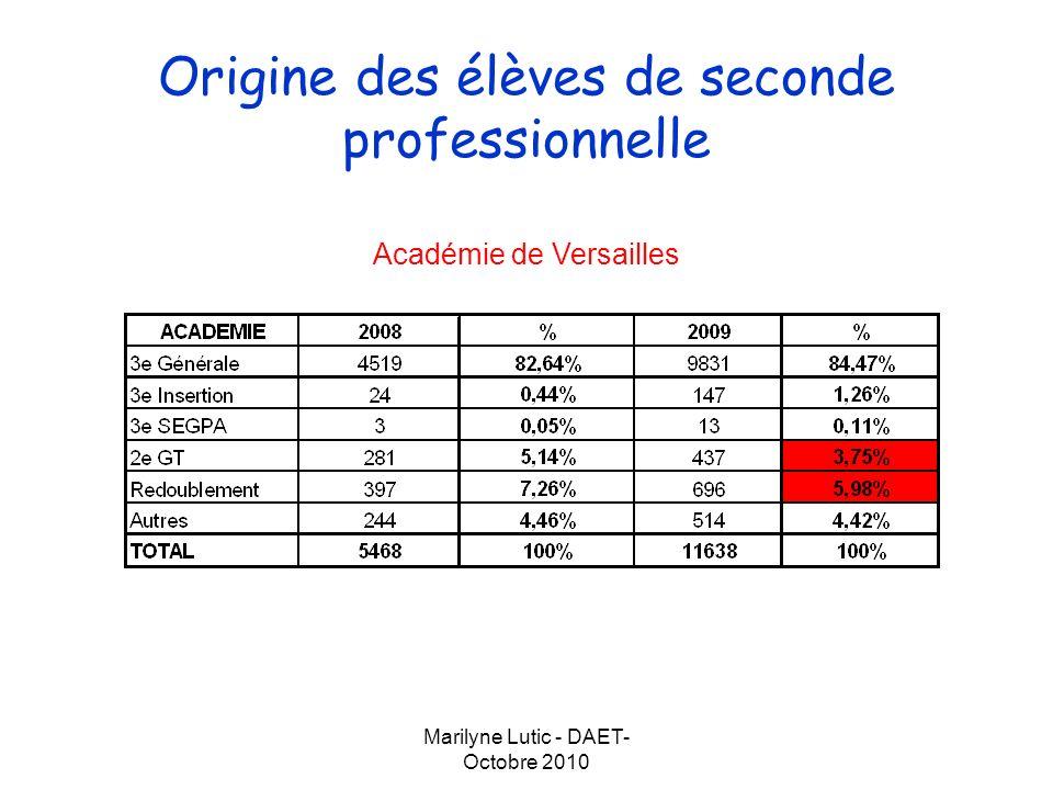 Marilyne Lutic - DAET- Octobre 2010 Origine des élèves de seconde professionnelle Département des Yvelines Département de lEssonne