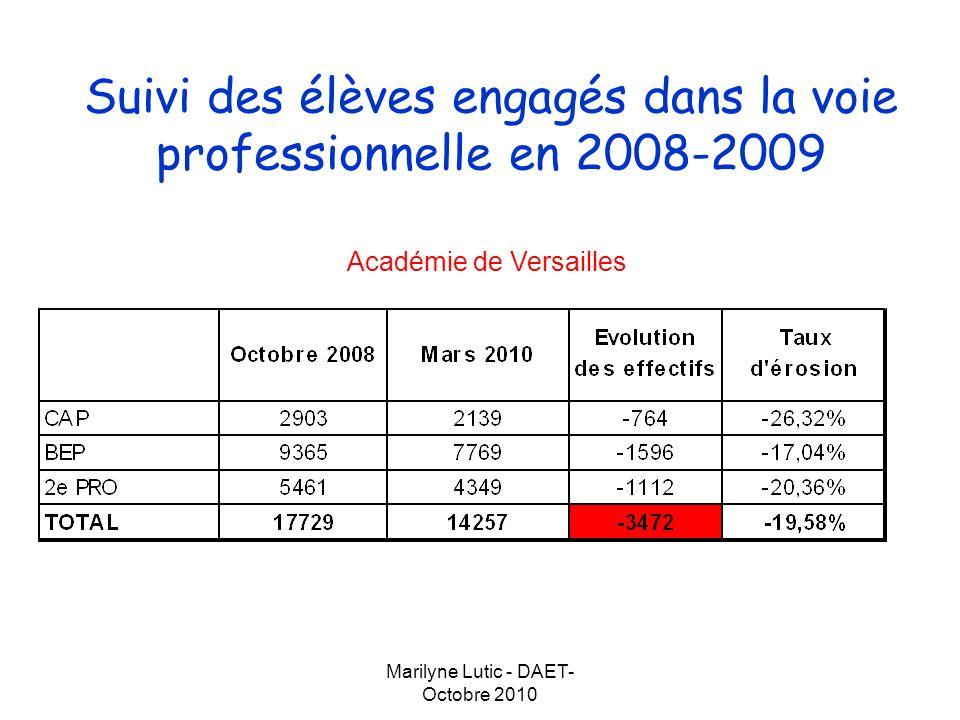 Marilyne Lutic - DAET- Octobre 2010 Suivi des élèves engagés dans la voie professionnelle en 2008-2009 Département de lEssonne Département des Yvelines