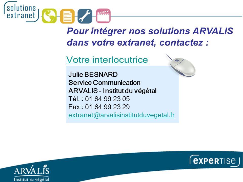 Julie BESNARD Service Communication ARVALIS - Institut du végétal Tél.