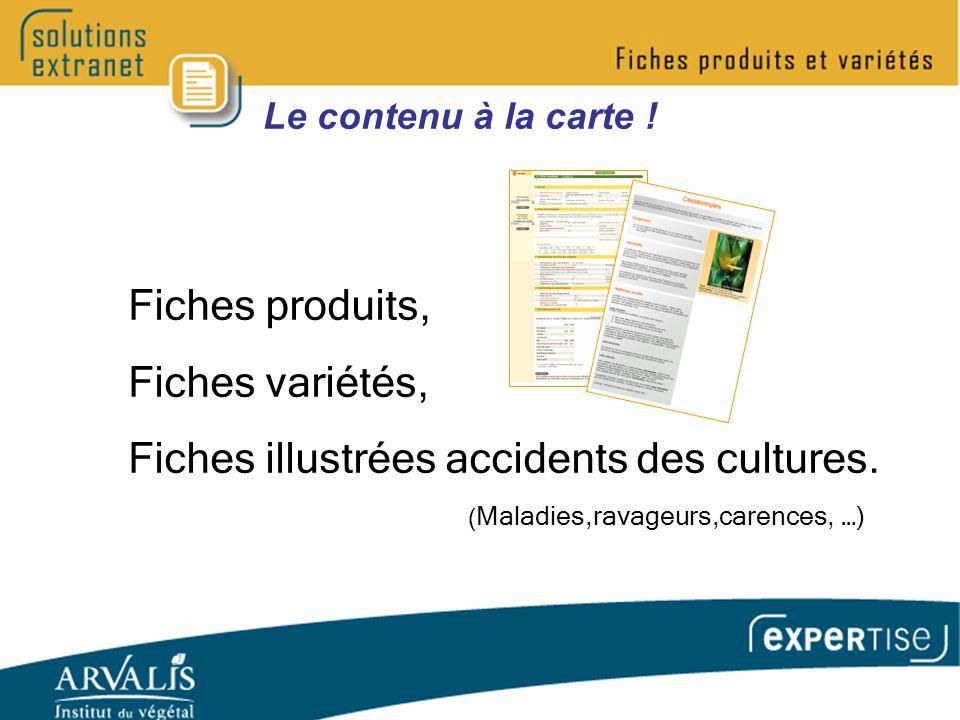 Le contenu à la carte . Fiches produits, Fiches variétés, Fiches illustrées accidents des cultures.