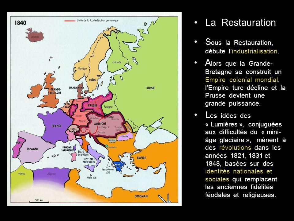 La Restauration S ous la Restauration, débute lindustrialisation.