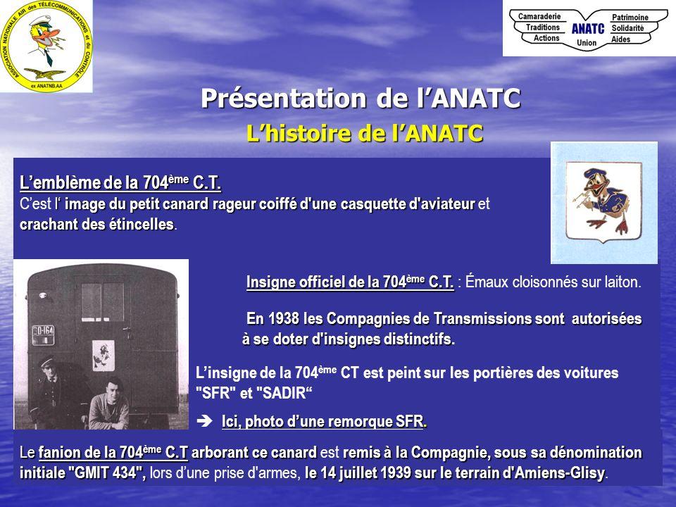 Présentation de lANATC Lhistoire de lANATC Insigne officiel de la 704 ème C.T. Insigne officiel de la 704 ème C.T. : Émaux cloisonnés sur laiton. En 1