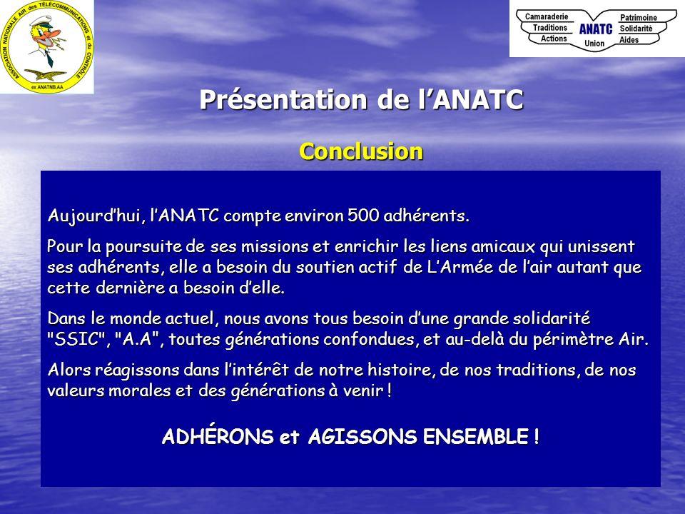 Conclusion Aujourdhui, lANATC compte environ 500 adhérents. Pour la poursuite de ses missions et enrichir les liens amicaux qui unissent ses adhérents