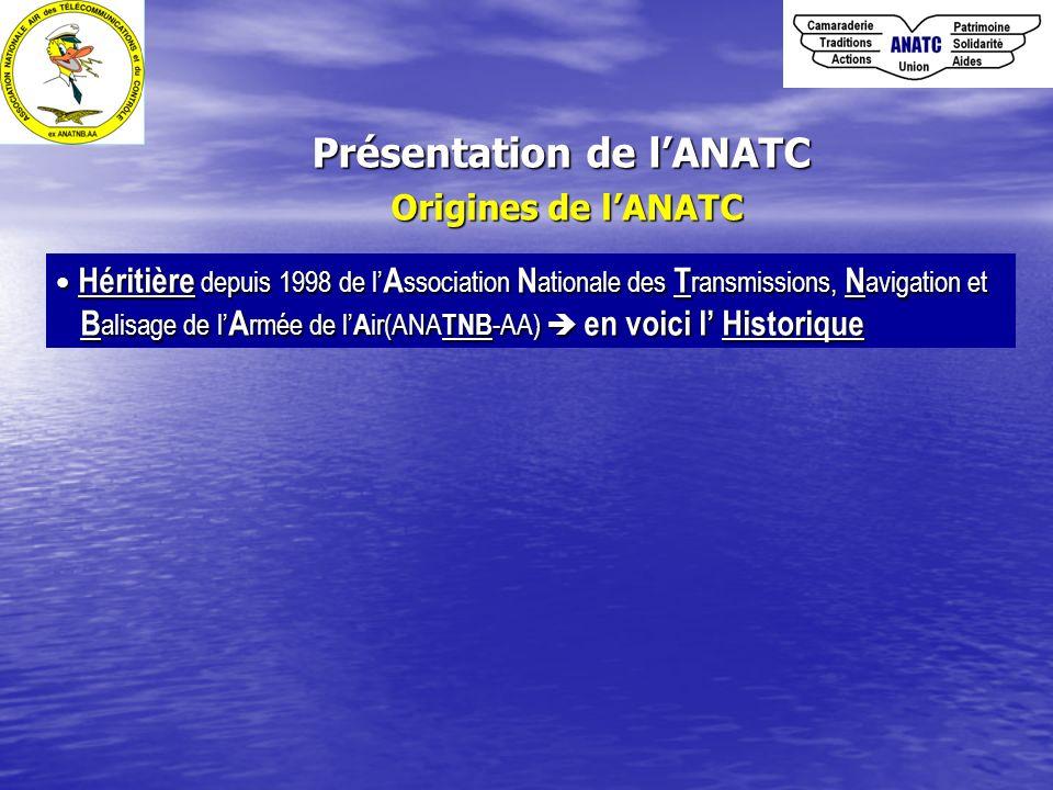 Présentation de lANATC Buts de lANATC 1.Renforcer les liens de camaraderie et de solidarité entre membres 2.Participer à la préservation du patrimoine ( Télécoms, Contrôle ) et au devoir de mémoire