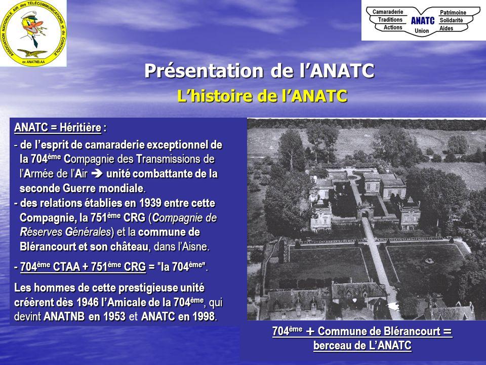 Présentation de lANATC Lhistoire de lANATC ANATC = Héritière : - de lesprit de camaraderie exceptionnel de la 704 ème C ompagnie des T ransmissions de