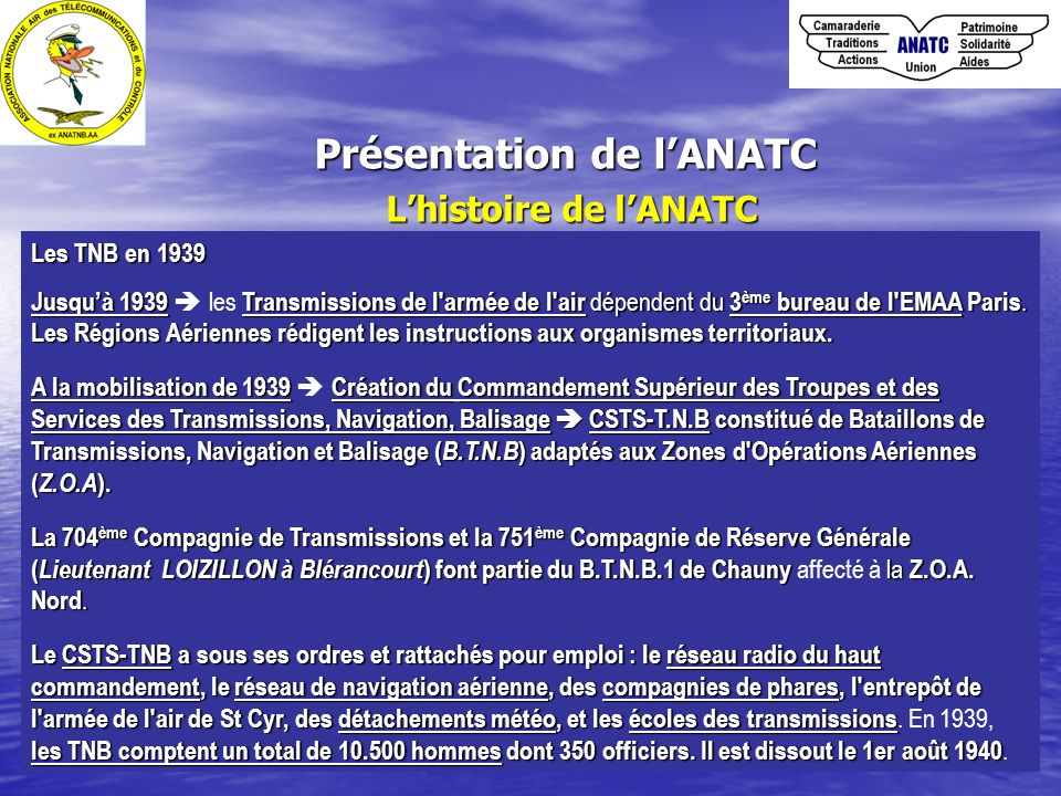 Présentation de lANATC Lhistoire de lANATC Les TNB en 1939 Jusquà 1939Transmissions de l'armée de l'air dépendent du 3 ème bureau de l'EMAA Paris. Jus