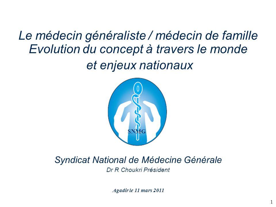 Le médecin généraliste / médecin de famille Evolution du concept à travers le monde et enjeux nationaux Syndicat National de Médecine Générale Dr R Ch