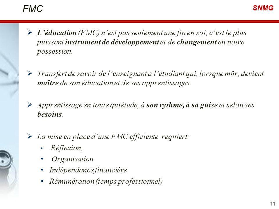 SNMG FMC Léducation (FMC) nest pas seulement une fin en soi, cest le plus puissant instrument de développement et de changement en notre possession. T