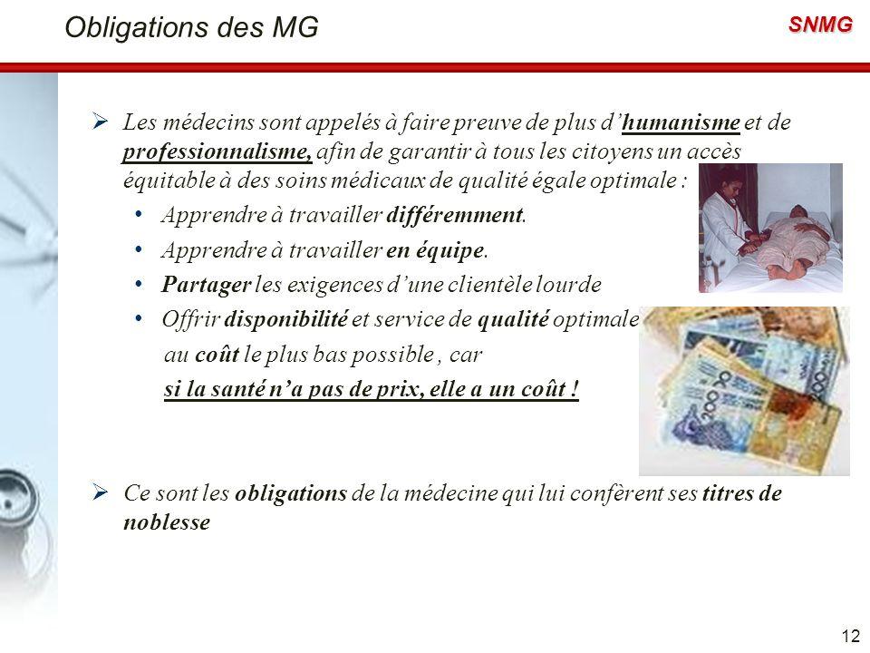 SNMG Obligations des MG Les médecins sont appelés à faire preuve de plus dhumanisme et de professionnalisme, afin de garantir à tous les citoyens un a