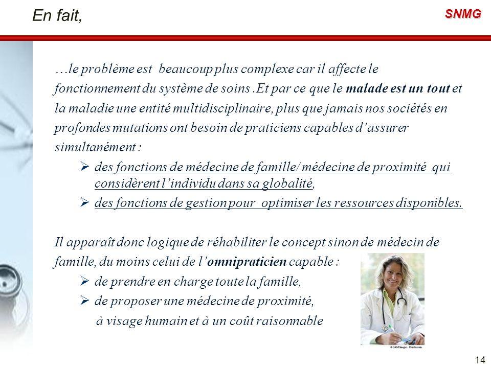 SNMG En fait, …le problème est beaucoup plus complexe car il affecte le fonctionnement du système de soins.Et par ce que le malade est un tout et la m