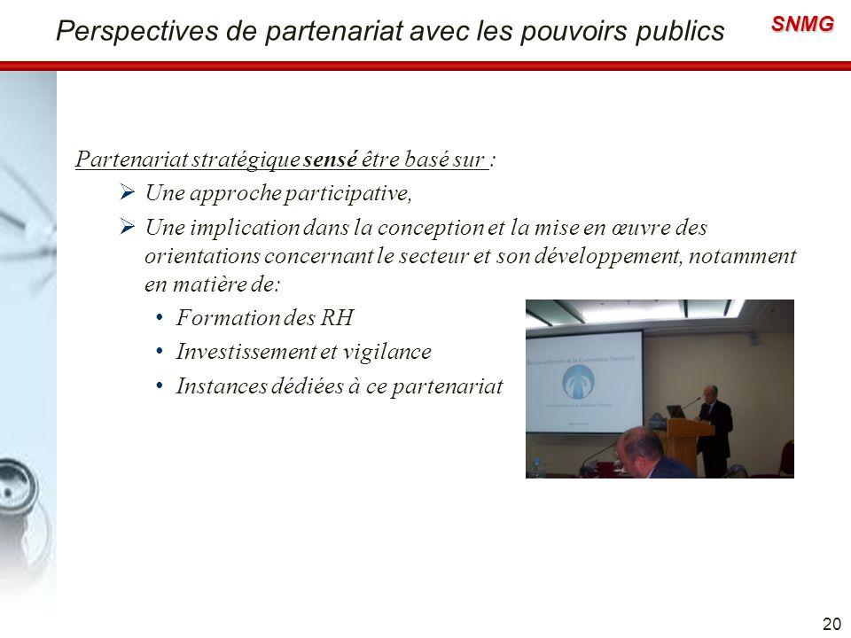 SNMG Perspectives de partenariat avec les pouvoirs publics Partenariat stratégique sensé être basé sur : Une approche participative, Une implication d