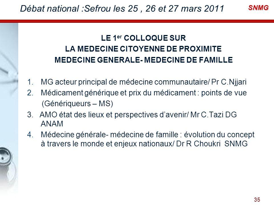 SNMG Débat national :Sefrou les 25, 26 et 27 mars 2011 LE 1 er COLLOQUE SUR LA MEDECINE CITOYENNE DE PROXIMITE MEDECINE GENERALE- MEDECINE DE FAMILLE