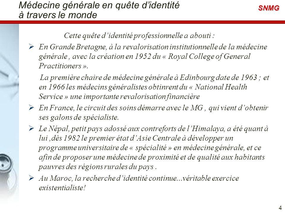 SNMG Définitions de la médecine générale La médecine générale est souvent définie par défaut comme une médecine non spécialisée, ce qui engendre de grandes frustrations professionnelles pour bon nombre de praticiens généralistes.