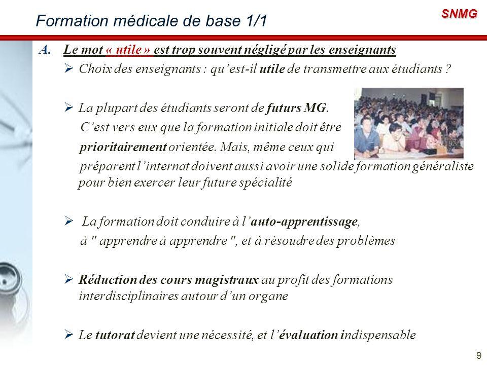 SNMG Formation médicale de base 1/1 A.Le mot « utile » est trop souvent négligé par les enseignants Choix des enseignants : quest-il utile de transmet