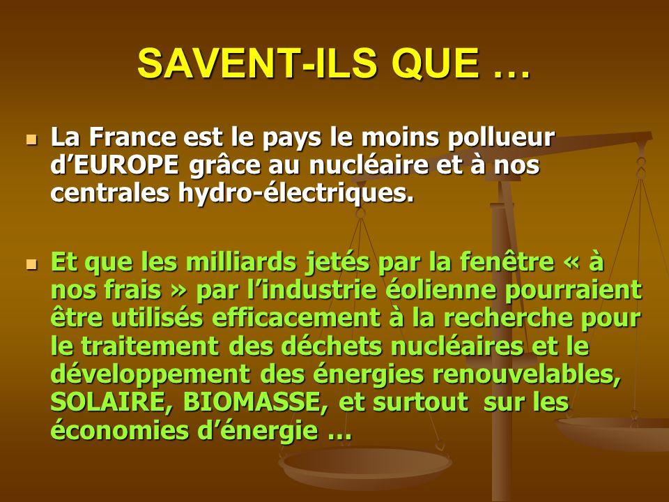 SAVENT-ILS QUE … La France est le pays le moins pollueur dEUROPE grâce au nucléaire et à nos centrales hydro-électriques. La France est le pays le moi