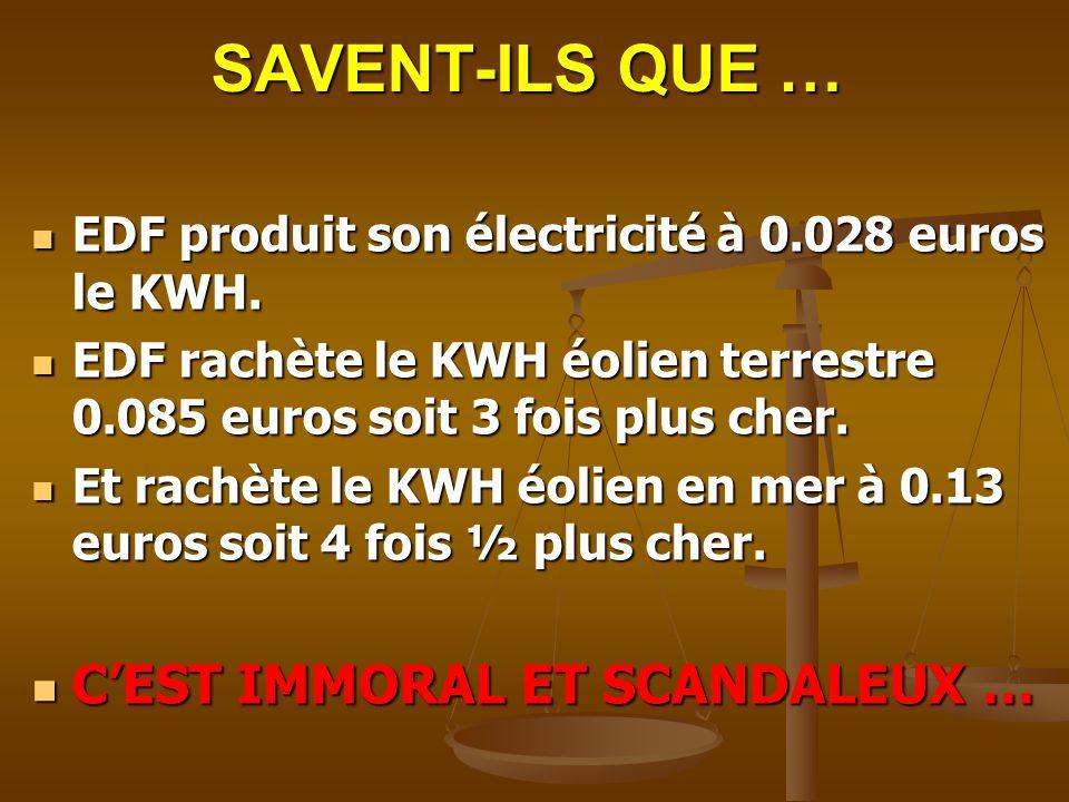 SAVENT-ILS QUE … EDF produit son électricité à 0.028 euros le KWH. EDF produit son électricité à 0.028 euros le KWH. EDF rachète le KWH éolien terrest