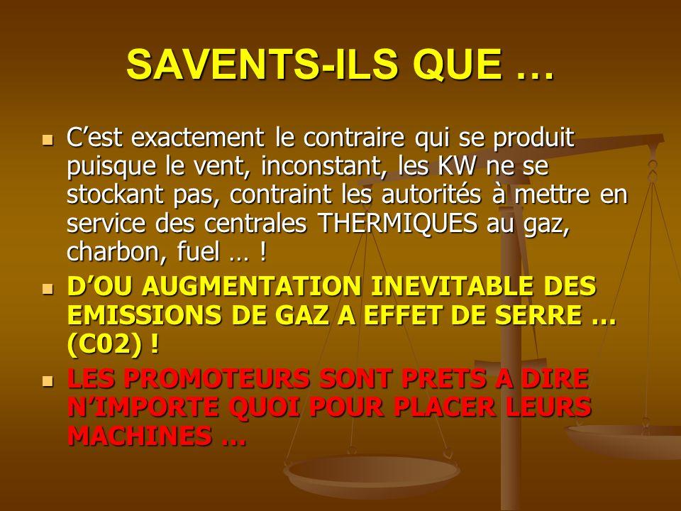 SAVENTS-ILS QUE … Cest exactement le contraire qui se produit puisque le vent, inconstant, les KW ne se stockant pas, contraint les autorités à mettre