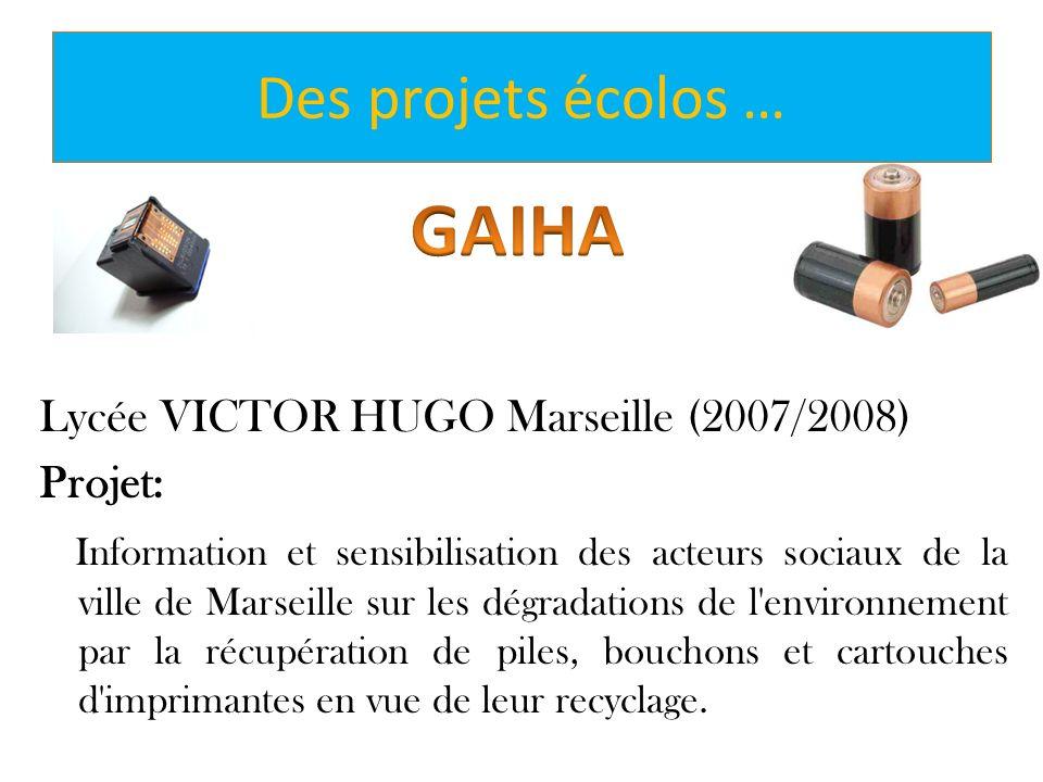 Des projets écolos … Lycée VICTOR HUGO Marseille (2007/2008) Projet: Information et sensibilisation des acteurs sociaux de la ville de Marseille sur l