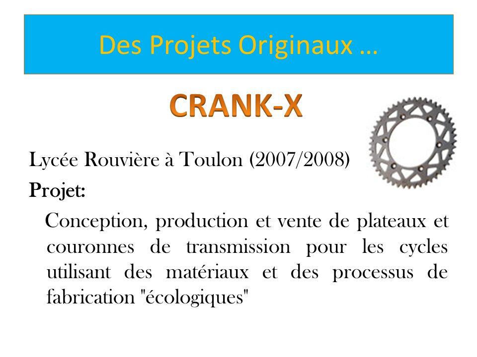 Lycée Rouvière à Toulon (2007/2008) Projet: Conception, production et vente de plateaux et couronnes de transmission pour les cycles utilisant des mat