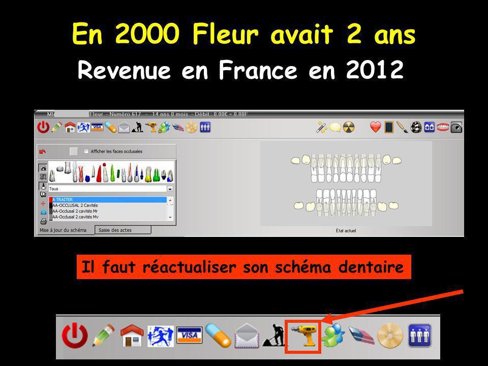 En 2000 Fleur avait 2 ans Revenue en France en 2012 Il faut réactualiser son schéma dentaire