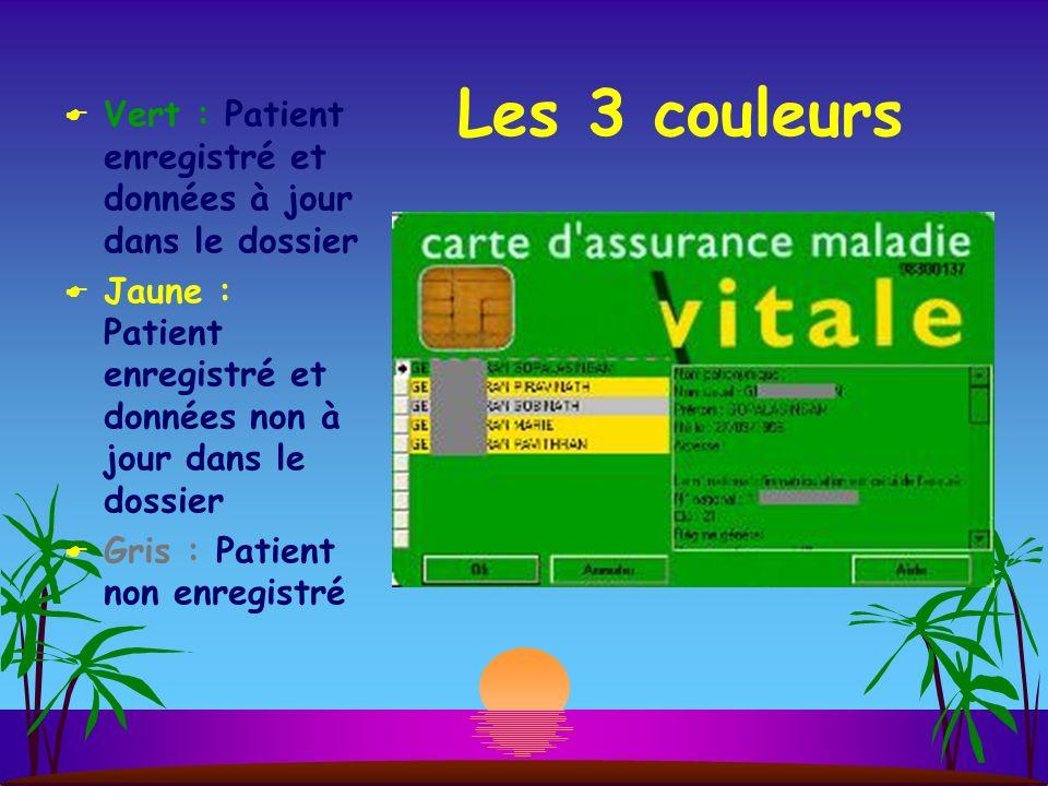 Vert : Patient enregistré et données à jour dans le dossier Jaune : Patient enregistré et données non à jour dans le dossier Gris : Patient non enregistré Les 3 couleurs