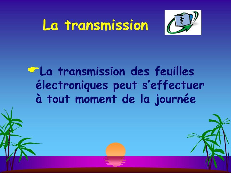La transmission La transmission des feuilles électroniques peut seffectuer à tout moment de la journée