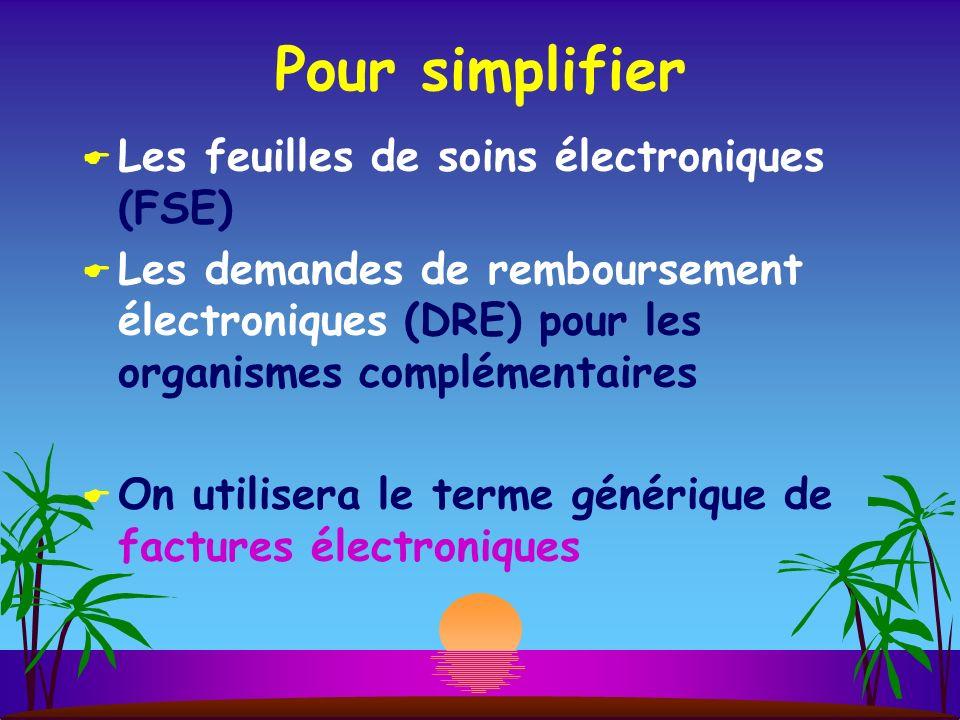 Pour simplifier Les feuilles de soins électroniques (FSE) Les demandes de remboursement électroniques (DRE) pour les organismes complémentaires On utilisera le terme générique de factures électroniques