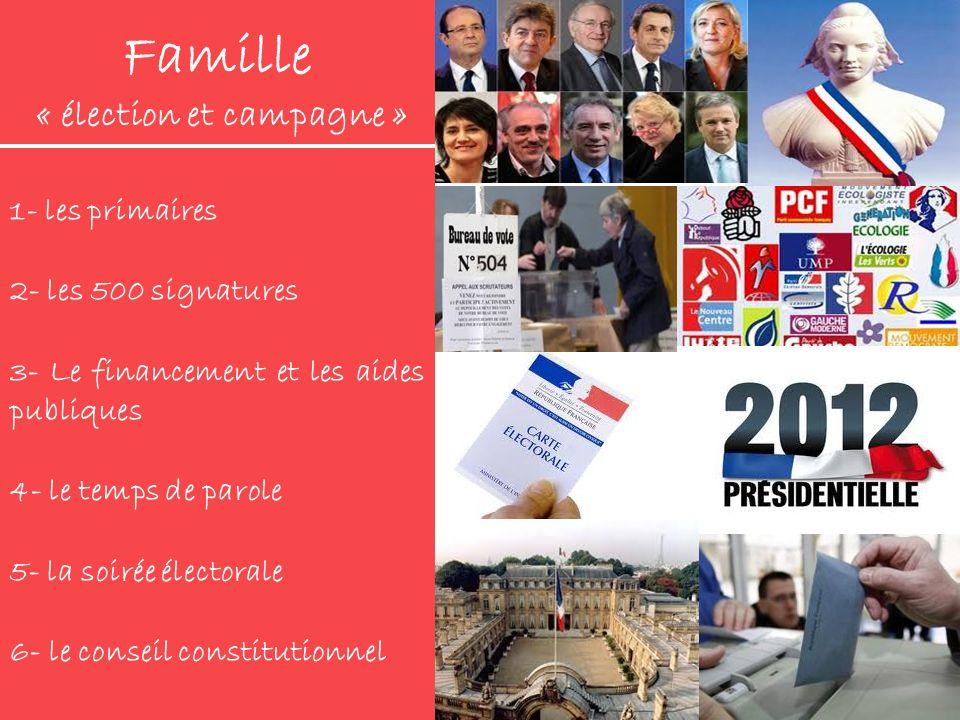 Famille « élection et campagne » 1- les primaires 2- les 500 signatures 3- Le financement et les aides publiques 4- le temps de parole 5- la soirée él