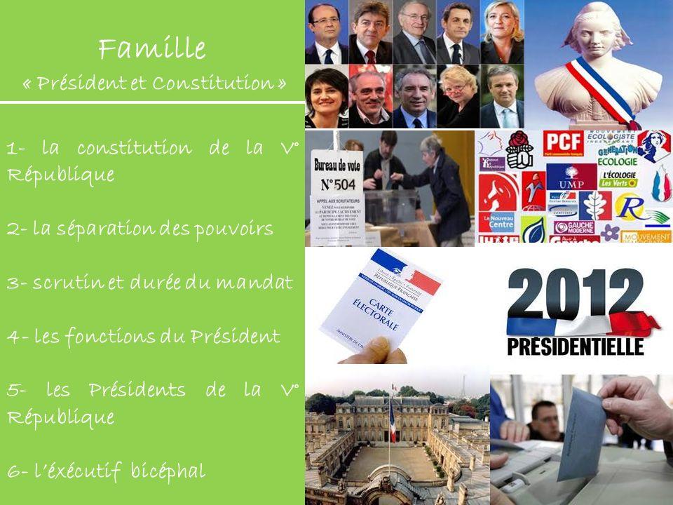 Famille « Président et Constitution » 1- la constitution de la V° République 2- la séparation des pouvoirs 3- scrutin et durée du mandat 4- les foncti