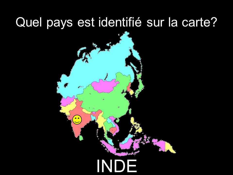 Quel pays est identifié sur la carte INDE