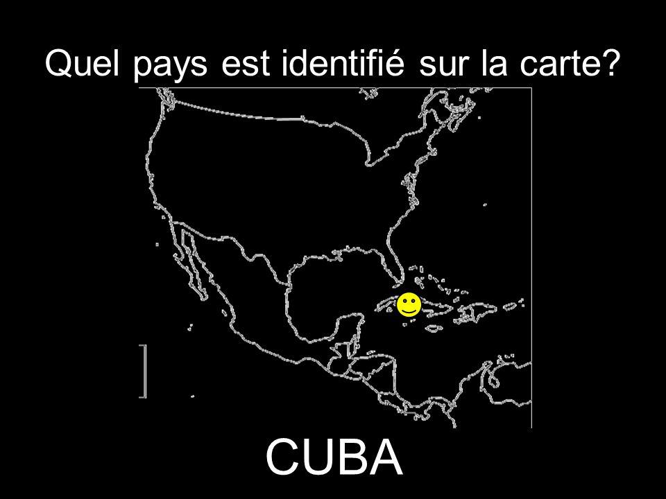Quel pays est identifié sur la carte? CUBA