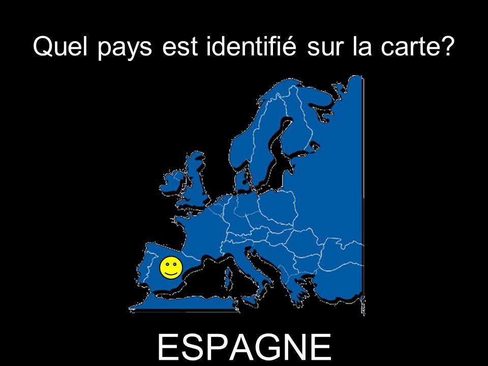 Quel pays est identifié sur la carte ESPAGNE