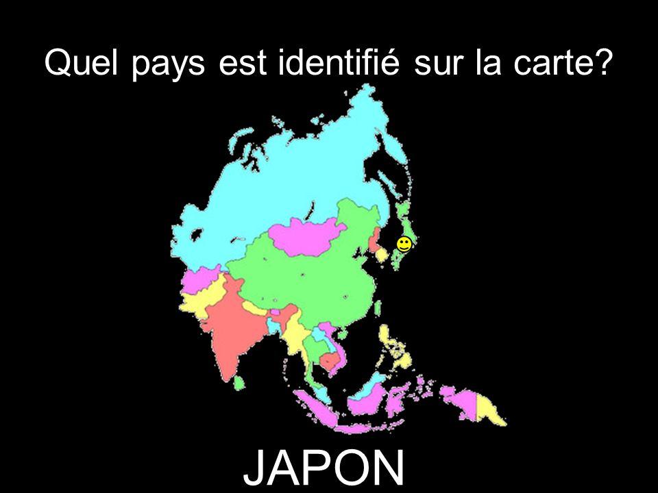 Quel pays est identifié sur la carte JAPON