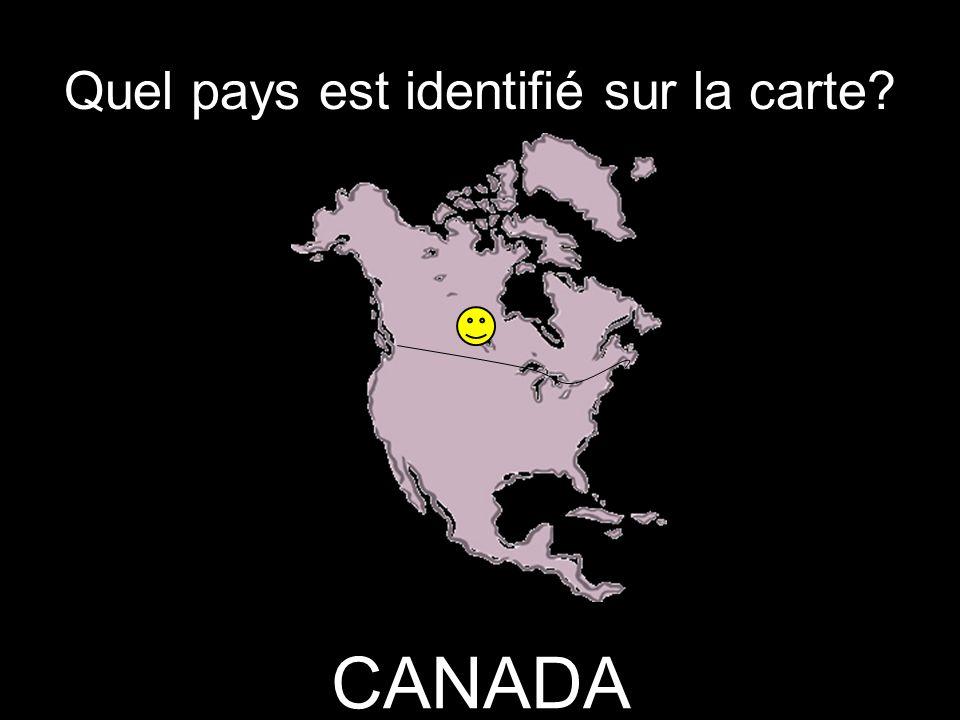Quel pays est identifié sur la carte CANADA
