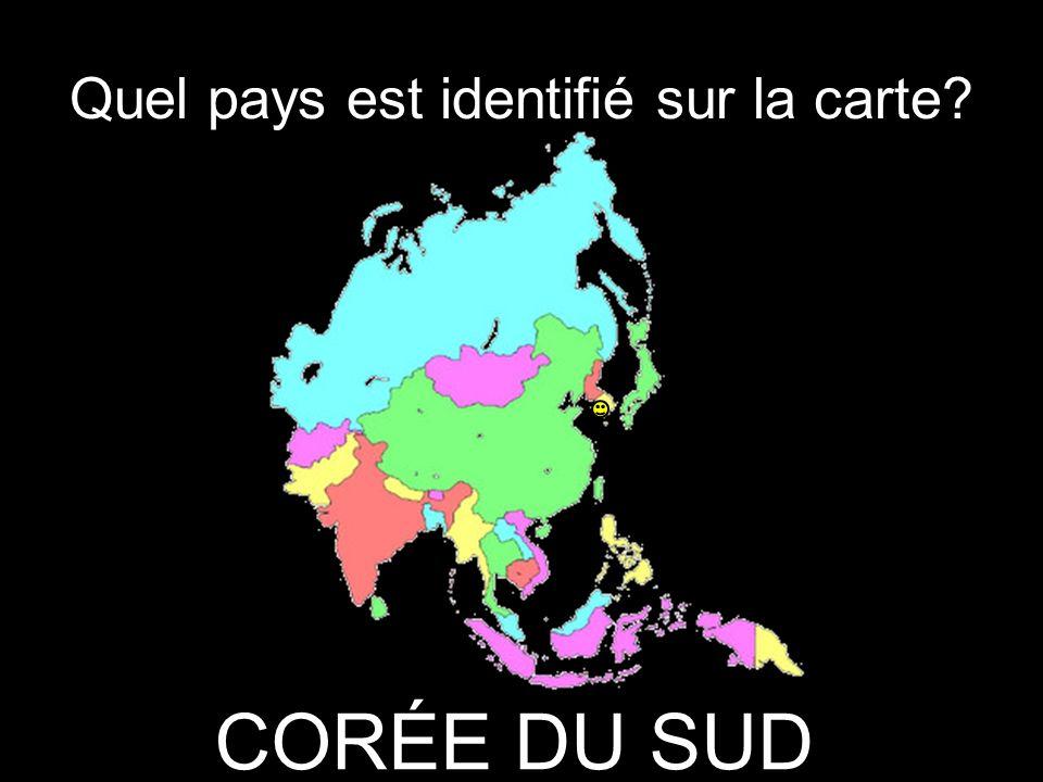 Quel pays est identifié sur la carte CORÉE DU SUD