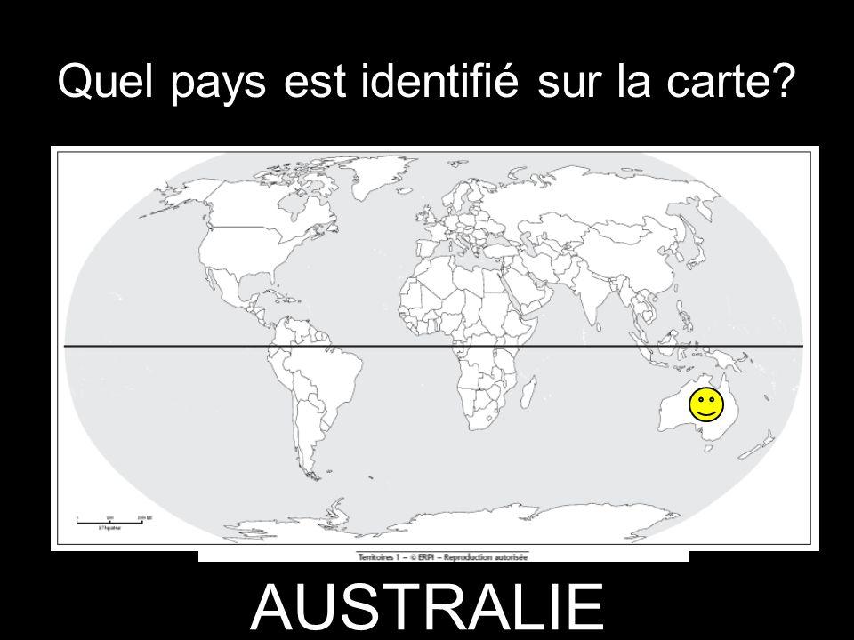 Quel pays est identifié sur la carte? AUSTRALIE